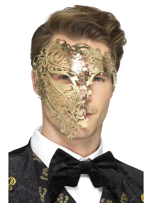 "19"" Gold Filigree Men Adult Halloween Phantom Mask Costume Accessory - One Size - IMAGE 1"