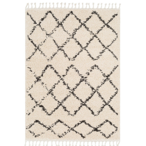 "7'10"" x 10'3"" Diamond Pattern Gray and Beige Rectangular Machine Woven Area Rug - IMAGE 1"