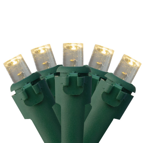300 Warm White LED Wide Angle Christmas Lights - 74.75 ft Green Wire - IMAGE 1