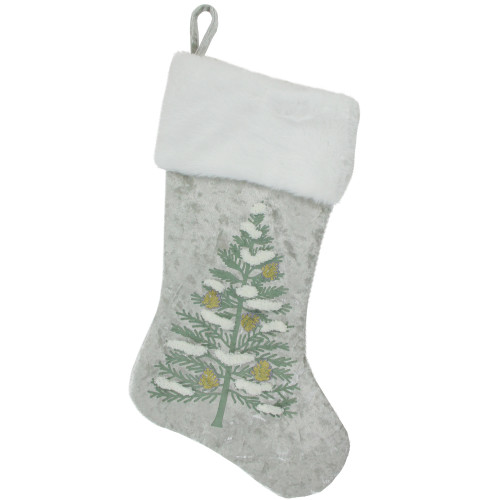 "20"" Snow Covered Green Tree Gray Christmas Stocking with White Cuff - IMAGE 1"