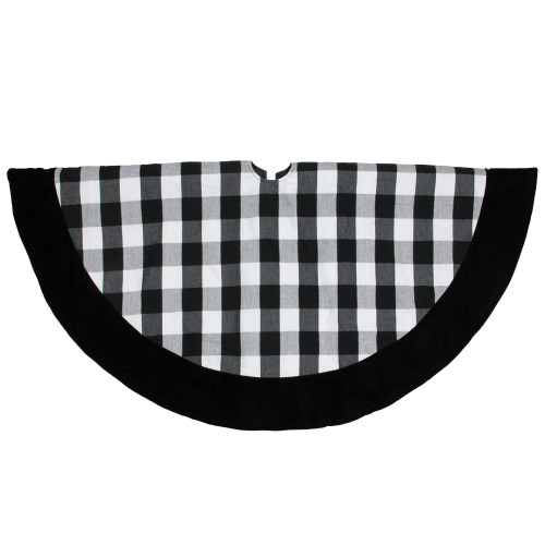 "48"" Black and White Plaid Round Christmas Tree Skirt - IMAGE 1"