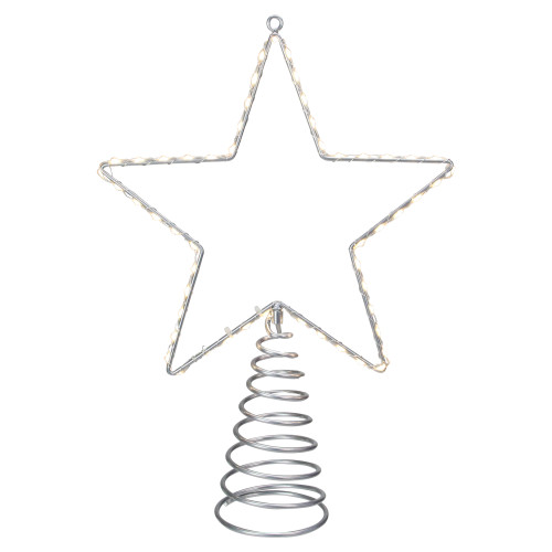 """18"""" Lighted Silver Star Christmas Tree Topper - Clear LED Lights - IMAGE 1"""