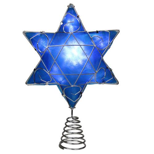 "8"" Lighted Hanukkah Star Tree Topper - Clear Lights - IMAGE 1"