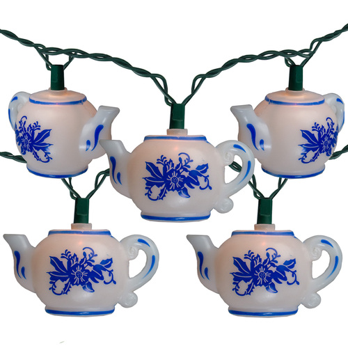10-Count White and Blue Floral Teapot Christmas Light Set, 11.4ft Green Wire - IMAGE 1