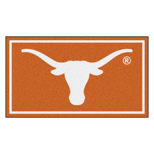 3' x 5' Orange and White NCAA Texas Longhorns Rectangular Plush Area Throw Rug - IMAGE 1