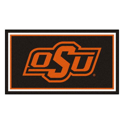 3' x 5' Black and Orange NCAA Oklahoma State Cowboys Rectangular Plush Area Throw Rug - IMAGE 1