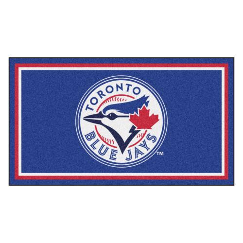 3' x 5' Blue and White MLB Toronto Blue Jays Rectangular Plush Area Throw Rug - IMAGE 1