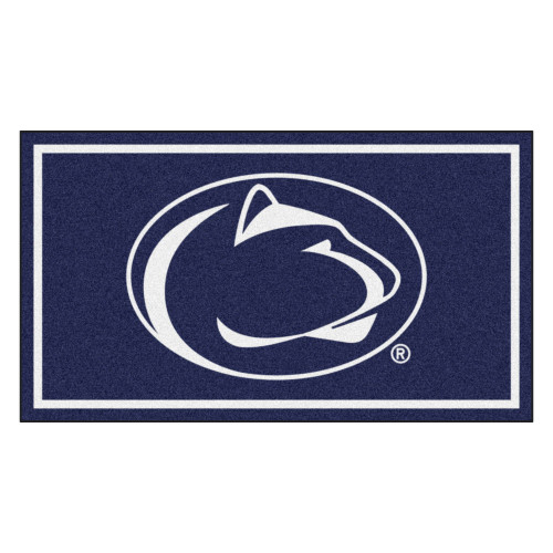 3' x 5' Navy Blue and White NCAA Penn State Nittany Lions Rectangular Plush Area Throw Rug - IMAGE 1