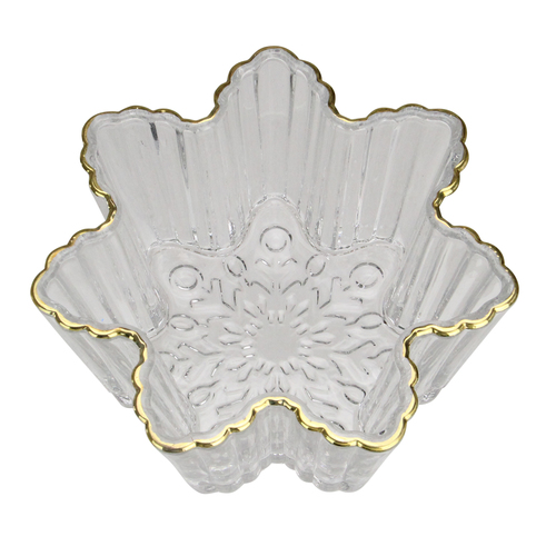 "5.75"" Clear and Gold Winter Snowflake Christmas Candy Dish Serving Bowl - IMAGE 1"