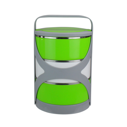 Green and White Stacking Food Storage Containers with Carrying Holder - IMAGE 1