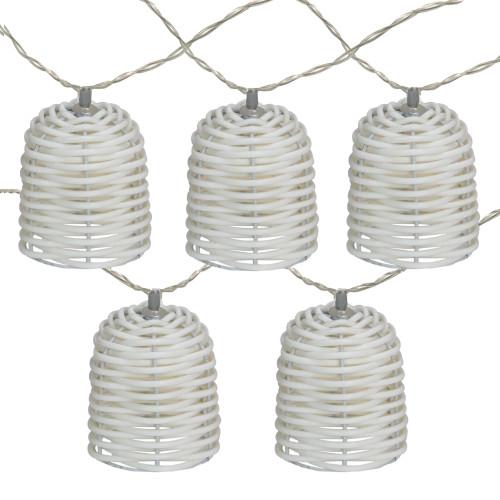 10 Battery Operated White LED Lantern Mini Christmas Lights - 5.75 ft White Wire - IMAGE 1
