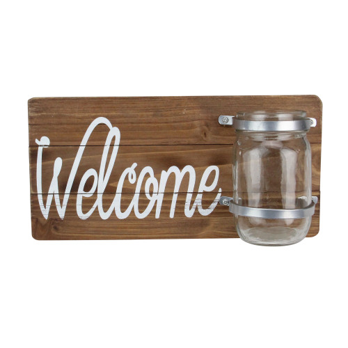 """12"""" White and Brown Hanging Welcome Sign with Mason Jar - IMAGE 1"""