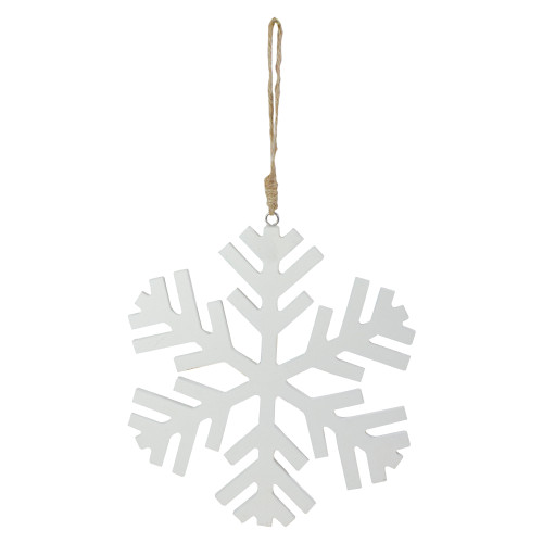 """8.75"""" White Solid Contemporary Snowflake Hanging Christmas Ornament - IMAGE 1"""