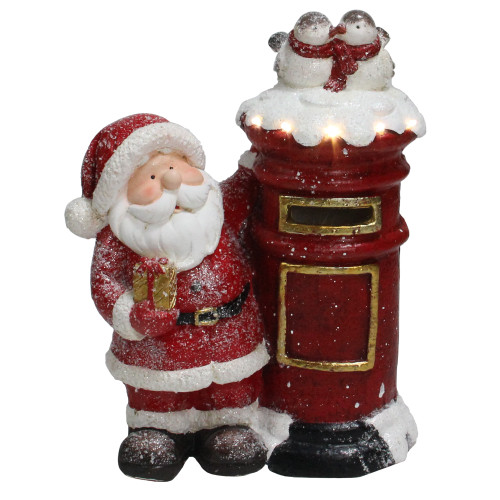 """15.5"""" Red and White Lighted Santa Claus Mailing Present Christmas Figurine - IMAGE 1"""