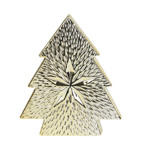 """8"""" Gold Ceramic Textured Tree with Star Table Top Christmas Decoration - IMAGE 1"""