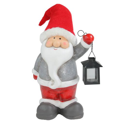 "12.5"" Joyful Santa Claus Gnome with Lantern Christmas Figure - IMAGE 1"