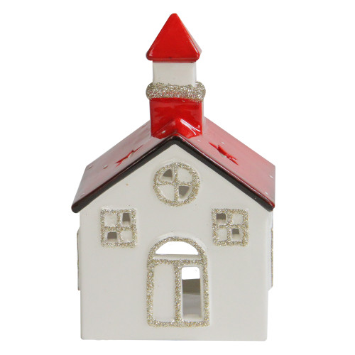 """6"""" White and Red Ceramic Church Flameless Christmas Candle Holder - IMAGE 1"""