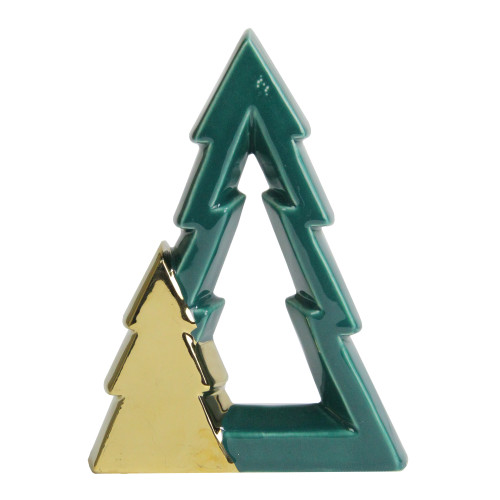 "7.25"" Green and Gold Cut-Out Christmas Tree Decoration - IMAGE 1"