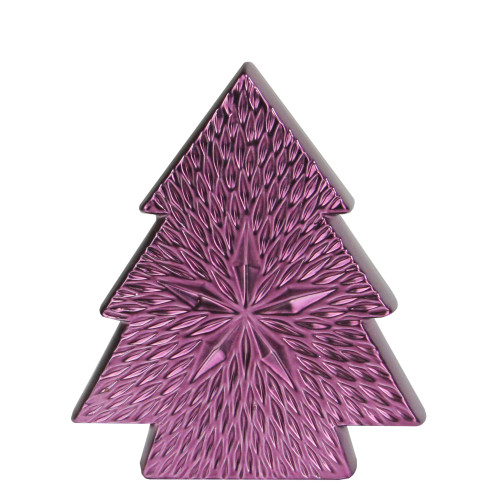 """6.25"""" Purple Ceramic Textured Tree with Star Table Top Christmas Decoration - IMAGE 1"""