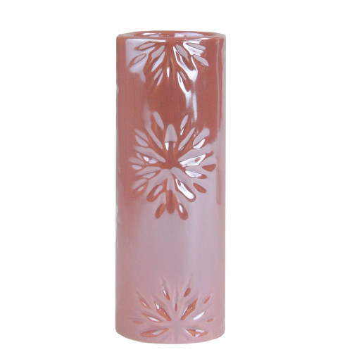 """6.5"""" Tall Pearly Pink Snowflake Christmas Candle Holder - IMAGE 1"""