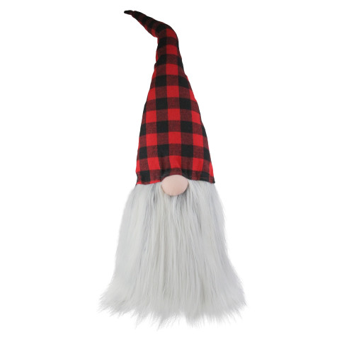 "28"" Red and Black Buffalo Plaid Christmas Tabletop Gnome - IMAGE 1"