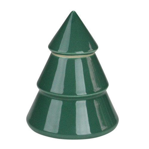 """6.25"""" Green Contemporary Ceramic Christmas Tree Container - IMAGE 1"""