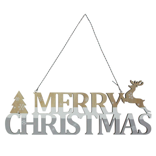 """15.75"""" Wooden Gray and White Striped 'Merry Christmas' Sign - IMAGE 1"""