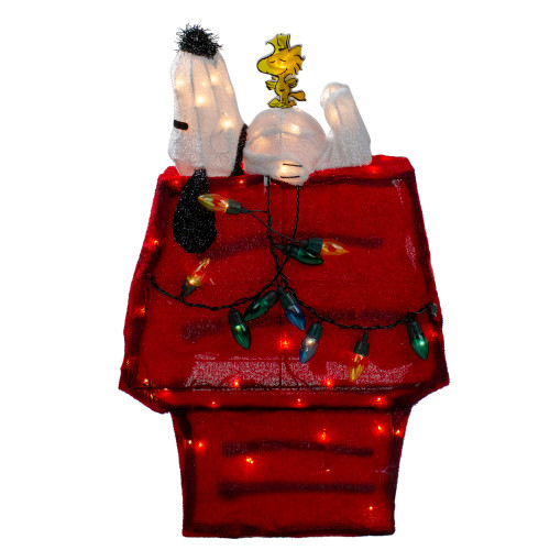 "26"" Red Pre Lit Peanuts Snoopy and Woodstock Dog House Christmas Yard Art Decor - Clear Lights - IMAGE 1"