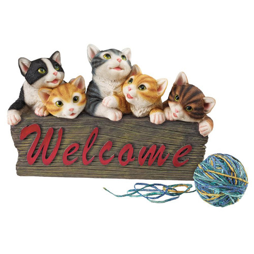 """12"""" Kitten Welcome Sign Hand-painted Statue - IMAGE 1"""