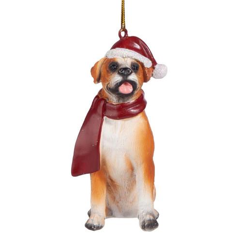 """3.5"""" Christmas Boxer Dog Ornament - IMAGE 1"""