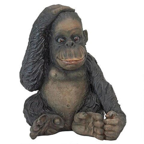"13"" Chimpanzee Funny Monkey Outdoor Garden Statue - IMAGE 1"
