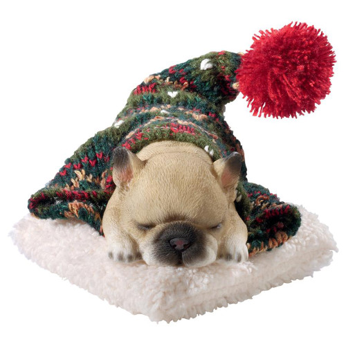 """8"""" Sleeping French Bulldog Puppy Hand Painted Outdoor Garden Statue - IMAGE 1"""