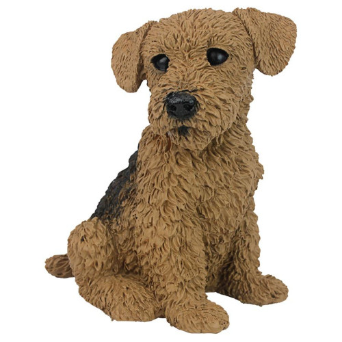 """9"""" Airedale Realistic Sitting Puppy Statue - IMAGE 1"""