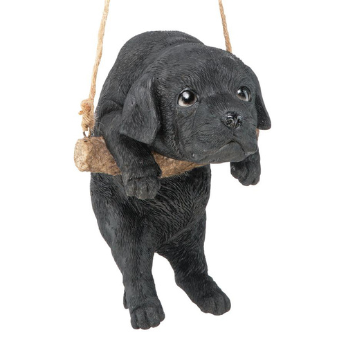 """8"""" Black Lab Puppy Outdoor Garden Statue - IMAGE 1"""