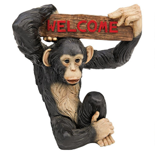 """12.5"""" Monkey Holding Welcome Sign Jungle Statue - IMAGE 1"""