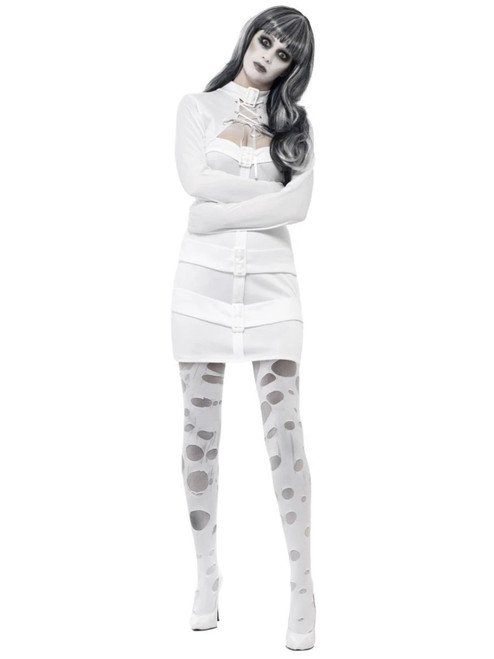 "40"" White Straitjacket Zombie Women Adult Halloween Costume - Small - IMAGE 1"