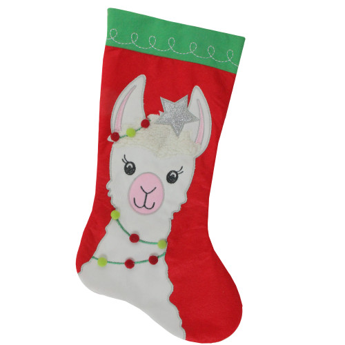 """20"""" Red and Green Christmas Stocking with Festive Llama with Pom Garland Applique - IMAGE 1"""