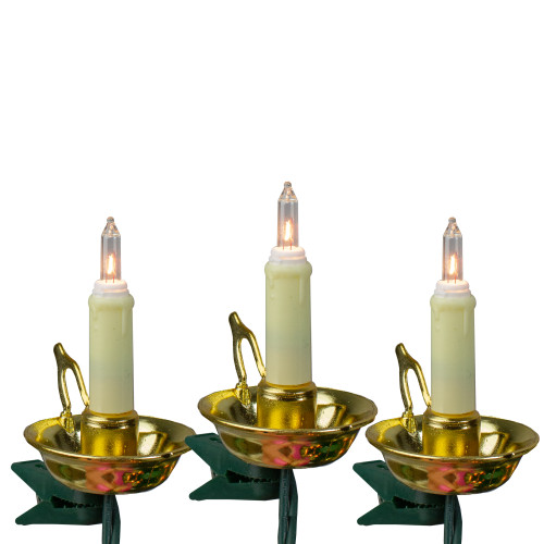 10-Count Gold and Black Flicker Flame Christmas String Light Set, 11.25ft Green Wire - IMAGE 1