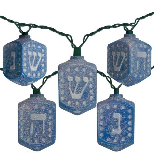10 Count Blue Hanukkah Dreidel Novelty Light Set-Incandescent Lights - IMAGE 1
