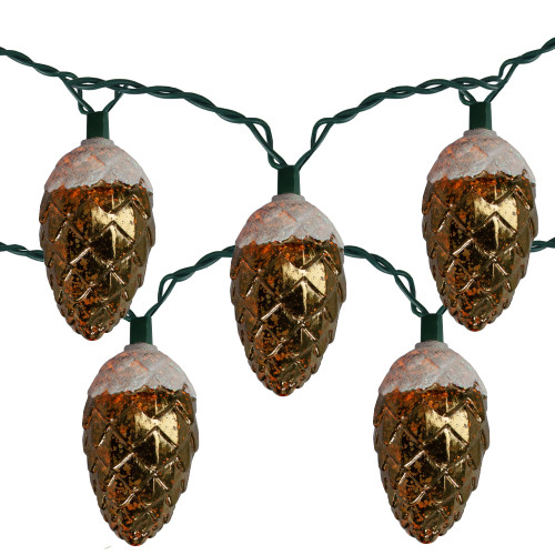 10-Count Clear Christmas String Pinecone Lights, 12ft Green Wire - IMAGE 1