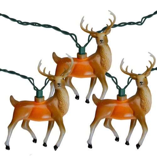10-Count Deer with Antlers Christmas Light Set, 9ft Green Wire - IMAGE 1