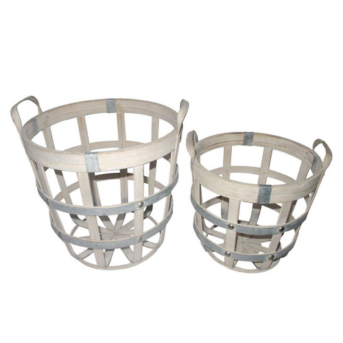 """Set of 2 Brown and Gray Round Rustic Baskets 14"""" - IMAGE 1"""