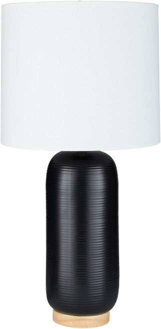 """25.5"""" Black Pill Shaped Table Lamp with White Drum Shade - IMAGE 1"""