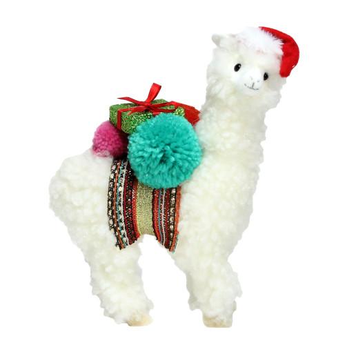 "10"" White Plush Bohemian Llama Christmas Figure with Pom Poms - IMAGE 1"
