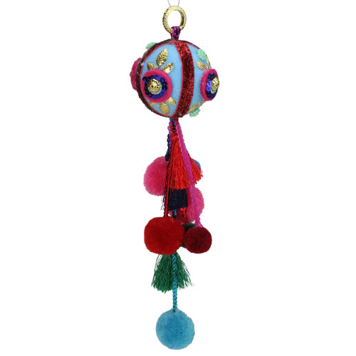 """10.25"""" Blue and Red Ball with Pompoms Christmas Ornament - IMAGE 1"""