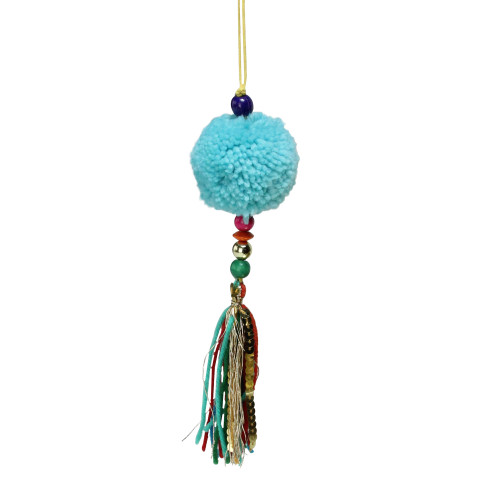 """8"""" Turquoise Blue Dangling Tassel Contemporary Hanging Christmas Ornament - IMAGE 1"""