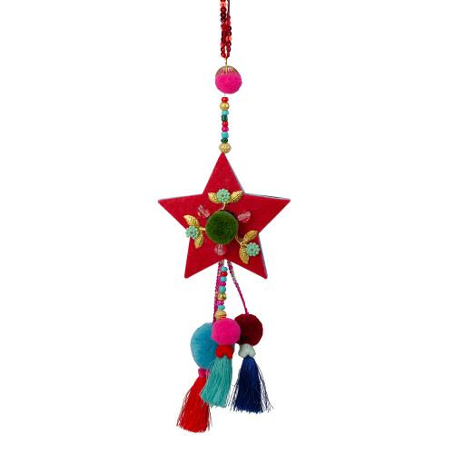 "9.5"" Red Bohemian Star with Pom Pom Christmas Ornament - IMAGE 1"