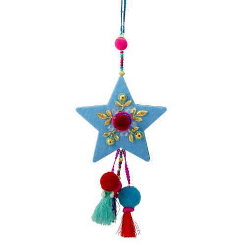 "11"" Blue and Red Star with Pom Pom Christmas Ornament - IMAGE 1"