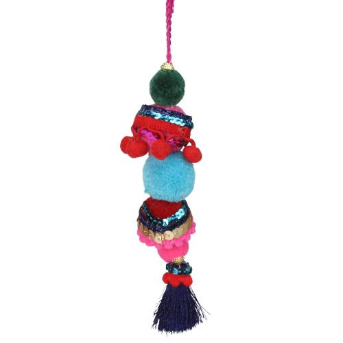 """6.25"""" Blue and Red Bohemian Christmas Pom Pom Ornament - IMAGE 1"""