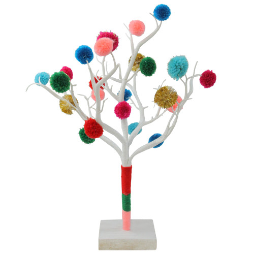 "15"" Multi-Color Bohemian Christmas Pom Pom Twig Tree - IMAGE 1"